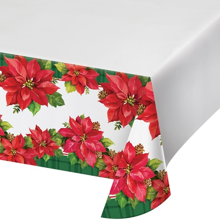 Holiday Poinsettia Plastic Table Cover