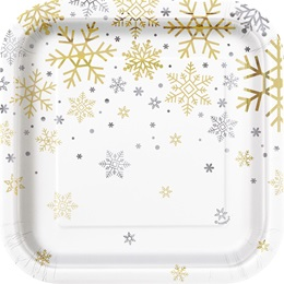 Holiday Foil Snowflakes Luncheon Plates