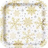 Holiday Foil Snowflakes Dinner Plates