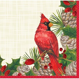 Red Christmas Cardinals Beverage Napkins