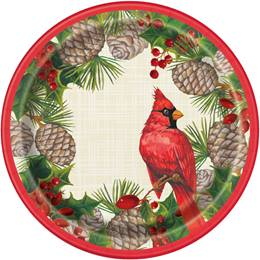 Red Christmas Cardinals Luncheon Plates