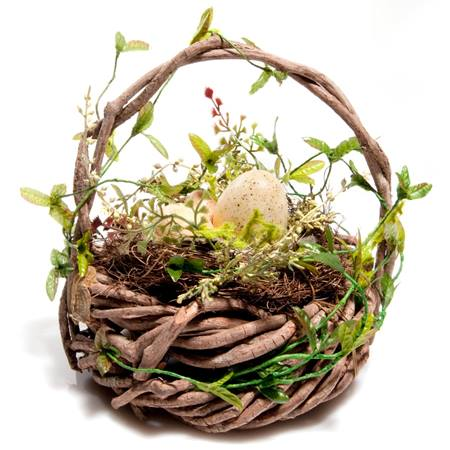 Twig Basket with Eggs