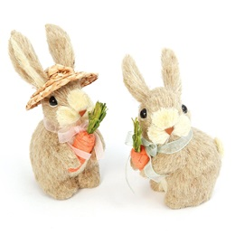 Natural Grass Bunny Figurine