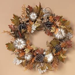 Harvest Pumpkin and Pinecone Wreath