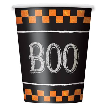 Checkered Halloween 9 oz Hot/Cold Cups, 8/pkg.