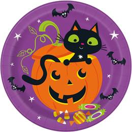 Cat & Pumpkin Dinner Plates
