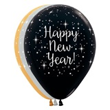 Glittering New Year Latex Balloons