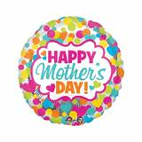 Happy Mother's Day Neon Hearts and Dots Foil Balloon