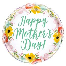 Happy Mother's Day Garden Metallic Balloon, 18""