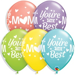 "Mom You're The Best 11"" Latex Balloons, 50/pkg."