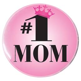 #1 Mom with Crown Button - 2 1/4 in.