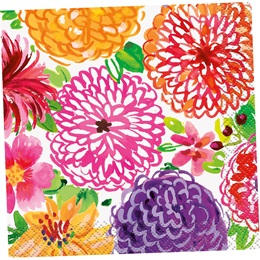 Floral Tableware Beverage Napkins, 16/pkg