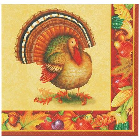 Festive Turkey Beverage Napkins