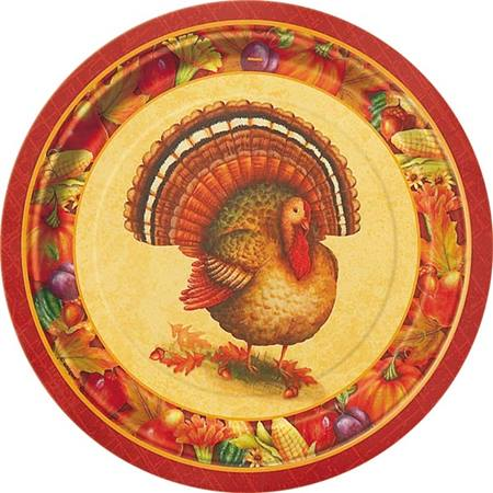 "Festive Turkey 7"" Luncheon Plates"