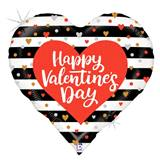 Valentine's Day Striped Metallic Balloon, 18""