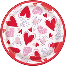 Sparkling Hearts Luncheon Plates