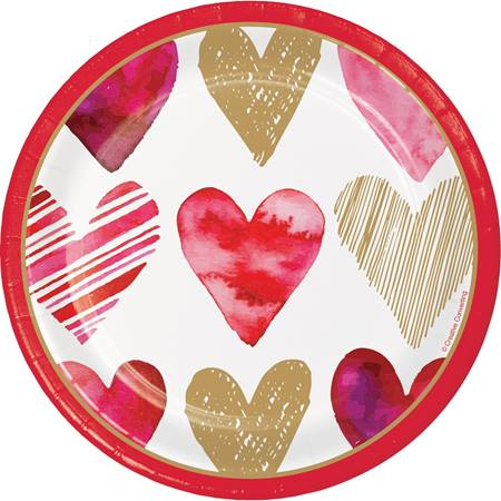 Watercolor Heart Luncheon Plates