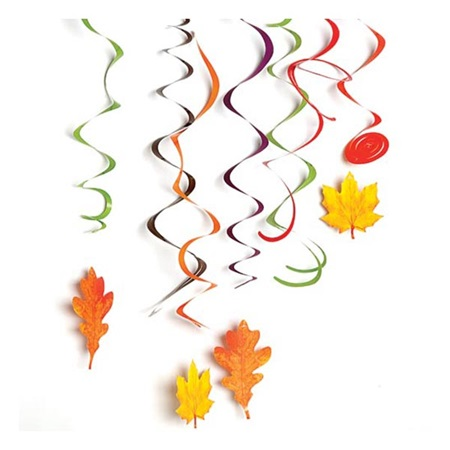 Fall leaves hanging swirl d cor m n party store for Paper swirl decorations