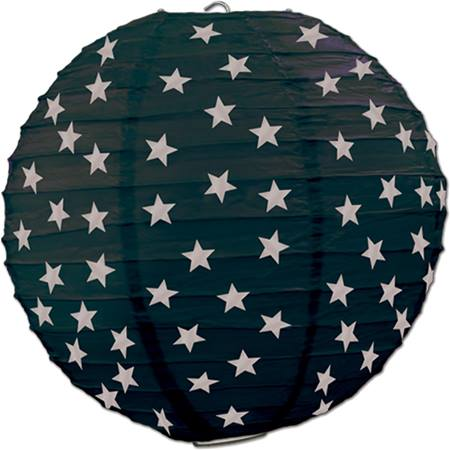 Paper Lanterns, Black with Silver Stars, 3/pkg