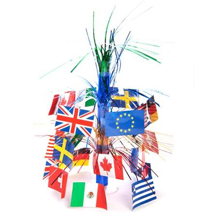 World flag centerpiece m n party store for International theme decor