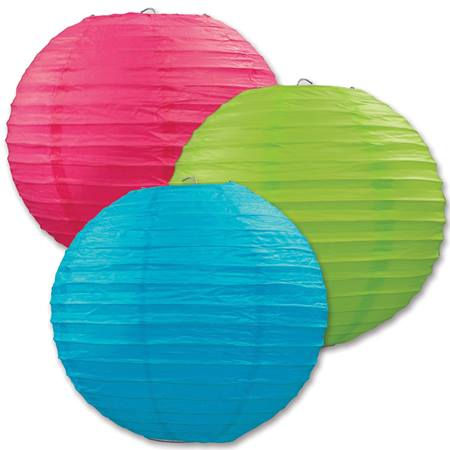 Luau Paper Lantern Assortment, 3/pkg.