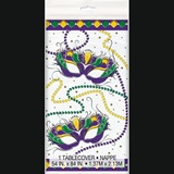 "Mardi Gras Plastic Table Cover, 54"" x 84"""