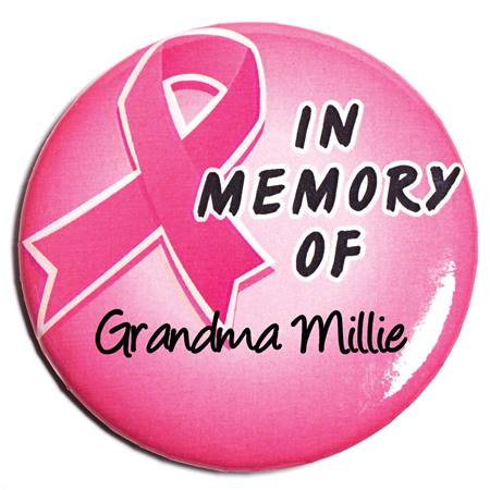 Pink Ribbon Button - In Memory