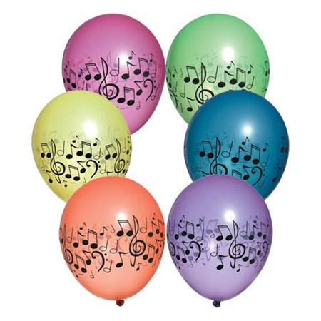 Neon Music Notes Latex Balloons