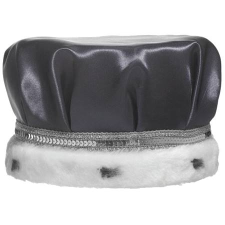 Black Satin Crown with Silver Band and Faux White Fur