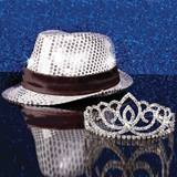 Silver Light-Up Fedora and Sasha Tiara Set