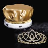 Gold Metallic Crown with Gold Sasha Tiara Set