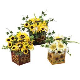 Daisies & Sunflowers in Metal Container