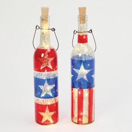 Lighted Americana Bottle with Handle