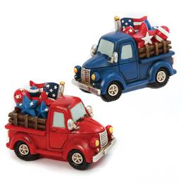 Resin Patriotic Truck Centerpiece