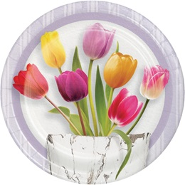 Springtime Tulips Luncheon Plates