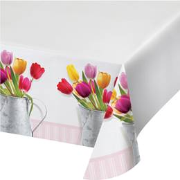 Springtime Tulips Plastic Table cover