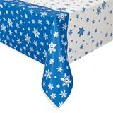 Two-Tone Snowflakes Plastic Table Cover, 54 x 84
