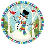 Smiling Snowman Luncheon Plates