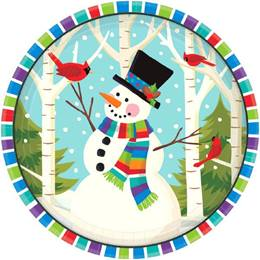 Smiling Snowman Dinner Plates