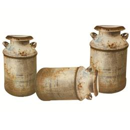 Old Cowhand Milk Can Set