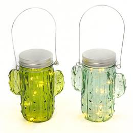 Lighted Glass Cactus Lantern