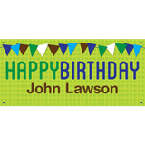 Personalized Banners - Green Birthday Pennants