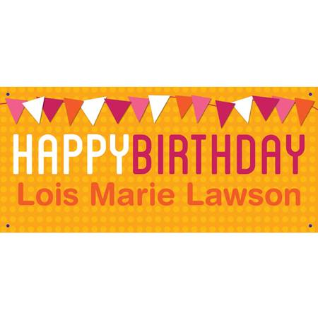 Personalized Banners - Orange Birthday Pennants