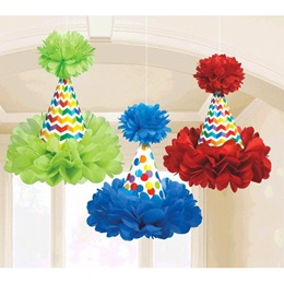 Birthday Cone Hat Fluffy Decorations