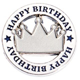 Happy Birthday Silver Crown Lapel Pin