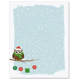 Holiday Owl Letter Paper
