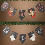 Wood Holiday Pennant Banner Sign